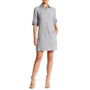 Max Studio 3/4 Sleeve Roll Tab Shirt Dress
